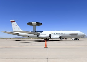An E-3 Sentry Airborne Warning and Control System aircraft assigned to Tinker Air Force Base, Okla., tests new hot weather equipment Aug. 19, 2019, at Luke AFB, Ariz.