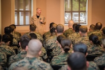 U.S. Navy Fleet Command Master Chief Rick O'Rawe spoke with a group of Sailors at Camp Lejeune, N.C., Aug. 19, 2019. O'Rawe spoke to Sailors about the upcoming changes the Navy is making. (U.S. Marine Corps photo by Lance Cpl. Samuel Lyden)