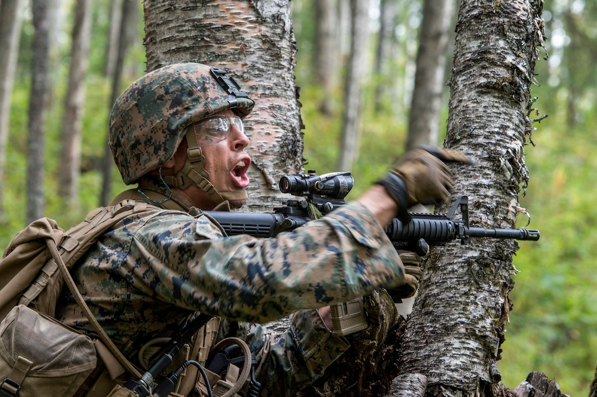 A Marine holding a weapon in a forest points and shouts.
