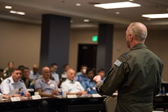 Royal Australian Air Force Group Capt. Nigel Ward, Director of Defence Flights Safety Bureau, gives a presentation during the Indo-Pacific Safety Air Forces Exchange in Waikiki, Hawaii, Aug. 20, 2019.
