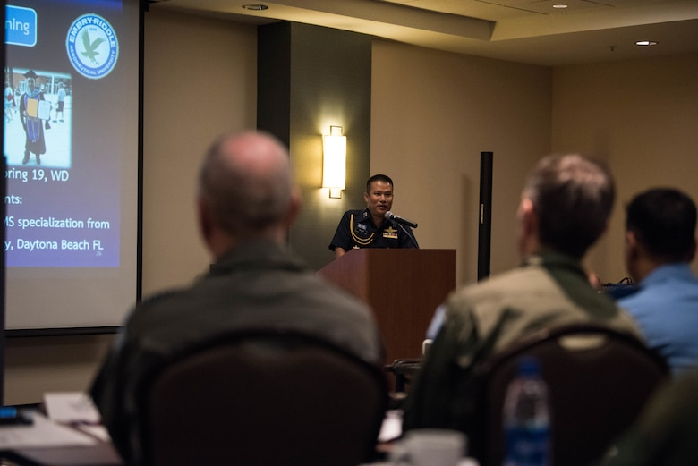 Royal Thai Air Force Group Capt. Sua Luenum, Chief of Aircraft Accident Investigation of RTAF, gives a presentation during the annual Indo-Pacific Safety Air Forces Exchange in Waikiki, Hawaii, Aug. 20, 2019.
