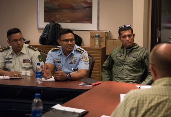 Attendees at the Indo-Pacific Safety Air Forces Exchange have a round-table discussion on aviation safety topics in Waikiki, Hawaii, Aug. 20, 2019.