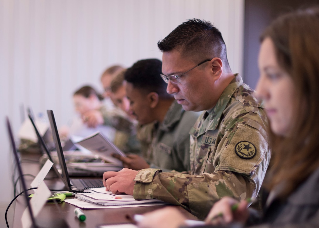 Texas Army National Guard Sgt. Michael Russel analyzes network traffic during a Cyber Shield 19 training week class at Camp Atterbury, Ind. April 7, 2019. As the nation's largest unclassified cyber defense training exercise, Cyber Shield provides participants with training on industry network infrastructure and cyber protection best practices.