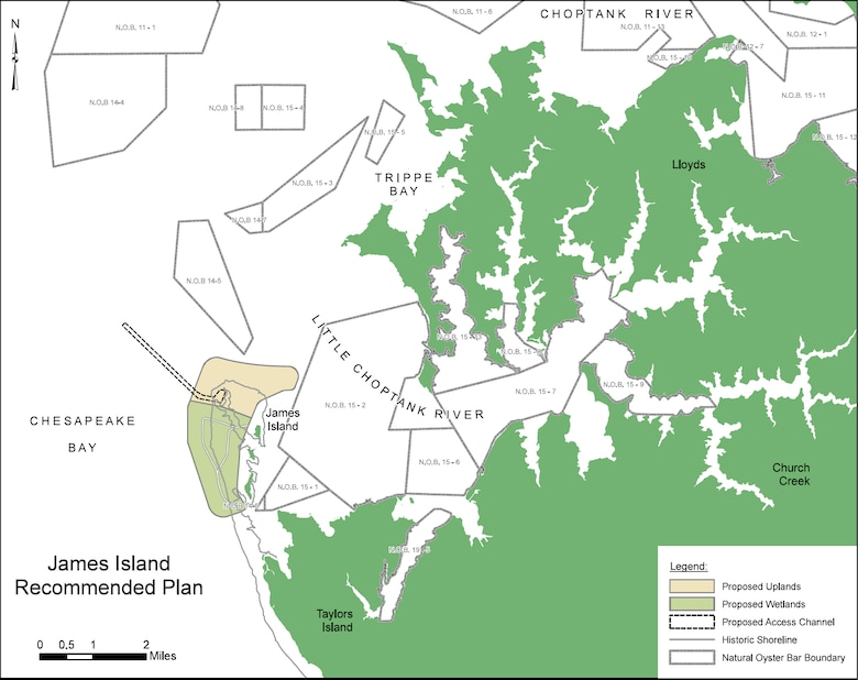 Image shows recommended plan for James Island as part of the larger Mid-Chesapeake Bay Island Ecosystem Restoration Project. The project is a partnership between the Corps of Engineers and the Maryland Port Administration that focuses on restoring and expanding island habitat at James and Barren islands to provide thousands of acres of wetland and terrestrial habitat for fish, shellfish, reptiles, amphibians, birds, and mammals through the beneficial use of material dredged primarily from Baltimore Harbor approach channels.