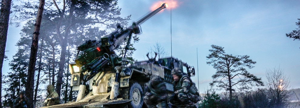 French soldiers fire their artillery gun March 7, 2019 at the Grafenwoehr Training Area during exercise Dynamic Front 19.