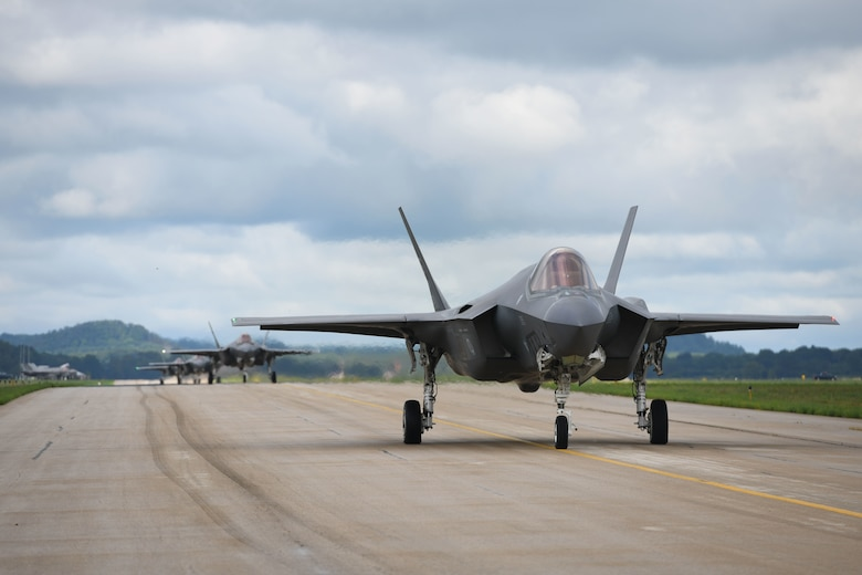 Several 33rd Fighter Wing F-35A Lightning IIs taxi down the Volk Field, Wisconsin. runway, during the Northern Lightning exercise, Aug. 13, 2019. Northern Lightning is a joint total force exercise that provides tactical-level, high-end training for current and future weapons platforms. (U.S. Air Force photo by Airman 1st Class Heather Leveille)
