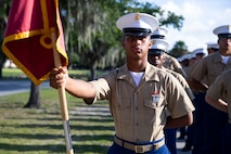"""A native of Titusville, Florida, graduated from Marine Corps recruit training as a platoon honor graduate of Platoon 3056, Company K, 3rd Recruit Training Battalion, Aug. 23, 2019. Pfc. Daion ColemanPetite earned this distinction over 13 weeks of training by outperforming 49 other recruits during a series of training events designed to test recruits' basic Marine Corps skills. These training events covered customs and courtesies, drill and ceremonies, marksmanship, physical fitness, military history, and a variety of other subjects. """"The best part about recruit training was bettering myself physically and the bond that you build with people from all over the world,"""" said ColemanPetite."""