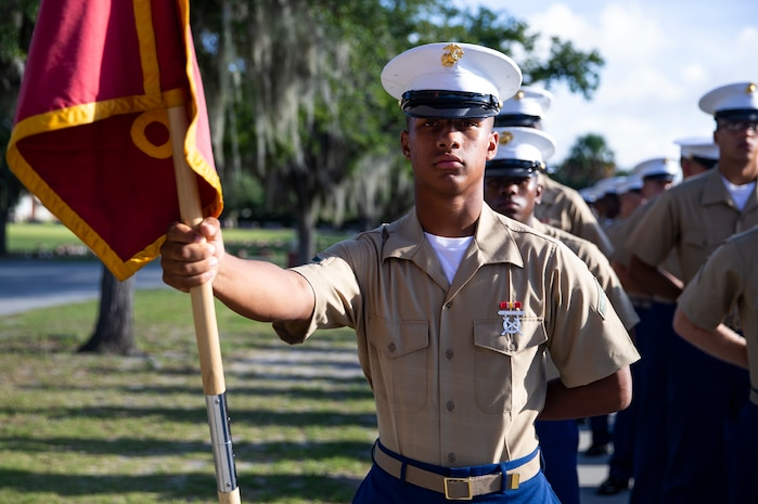 A native of Titusville, Florida, graduated from Marine Corps recruit training as a platoon honor graduate of Platoon 3056, Company K, 3rd Recruit Training Battalion, Aug. 23, 2019.