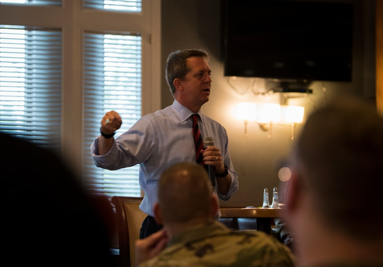 James Smith Jr., University of South Carolina (USC) executive director of military programs and strategies, discusses his leadership perspective to 50 Team Shaw members during the second session of the Team Shaw Leadership Development Council and USC Leadership Discussion Series (LDS) at Shaw Air Force Base, South Carolina, Aug. 15, 2019.