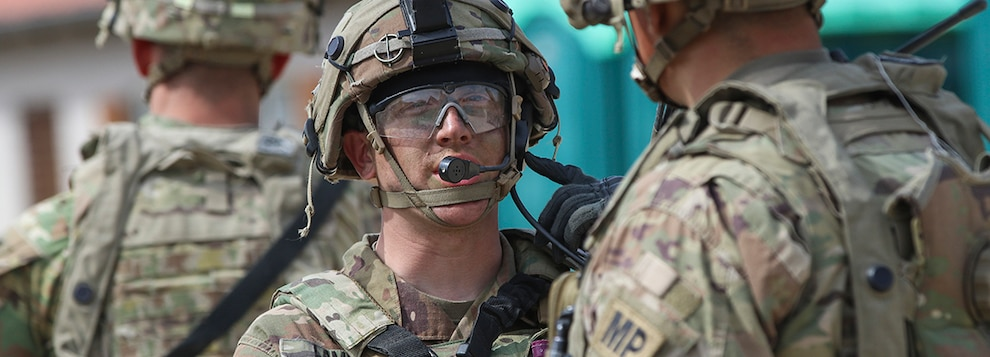 Sgt. John Lampe from Falon, Illinois, assigned to the 92nd Military Police Company,  conducts a security patrol during Allied Spirit X at the Joint Multinational Readiness Center in Hohenfels, Germany, April 7, 2019.
