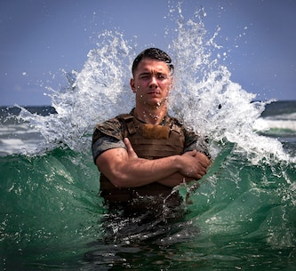 """Sgt. Cody Huestis, a meteorology and oceanology Marine with 2nd Intel Battalion, II MEF Information Group, poses for a photo at Camp Lejeune, N.C., Aug. 13, 2019. """"Leadership is a privilege to better the lives of others. It is not an opportunity to satisfy personal greed,"""" said Huestis, a Ticonderoga, N.Y. native. Huestis continues daily to find ways not only to better himself, but to help better others within the battalion.  His leadership has noted he is almost always the first to say """"I will do it."""" (U.S. Marine Corps photo by Sgt. David Delgadillo)"""