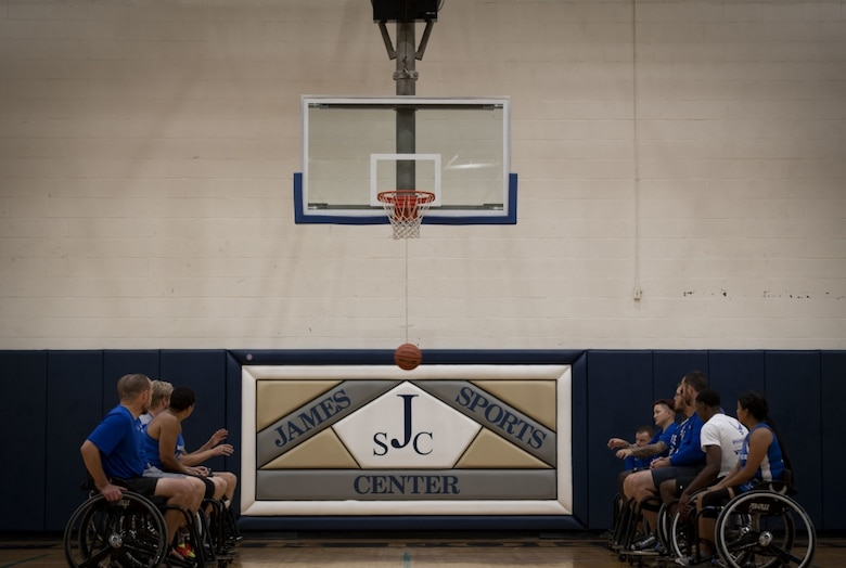 Wounded Warriors practice basketball drills