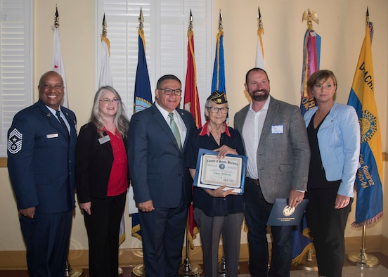 Local leaders present Kathleen McCullough, Korean War veteran, with a certificate of appreciation during the third annual Veteran's Breakfast hosted by Rep. Salud Carbajal August 21, 2019 at Lompoc Veterans Memorial Building in Lompoc, Calif. McCullough was recognized for her honorable military service and tireless efforts in support of the United States Armed Forces. (U.S. Air Force photo by Airman 1st Class Aubree Milks)