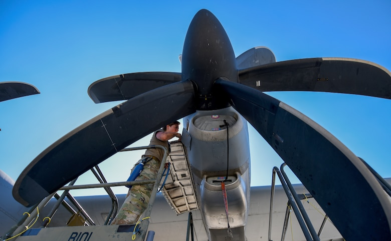 Staff Sgt.works on a C-130J Super Hercules