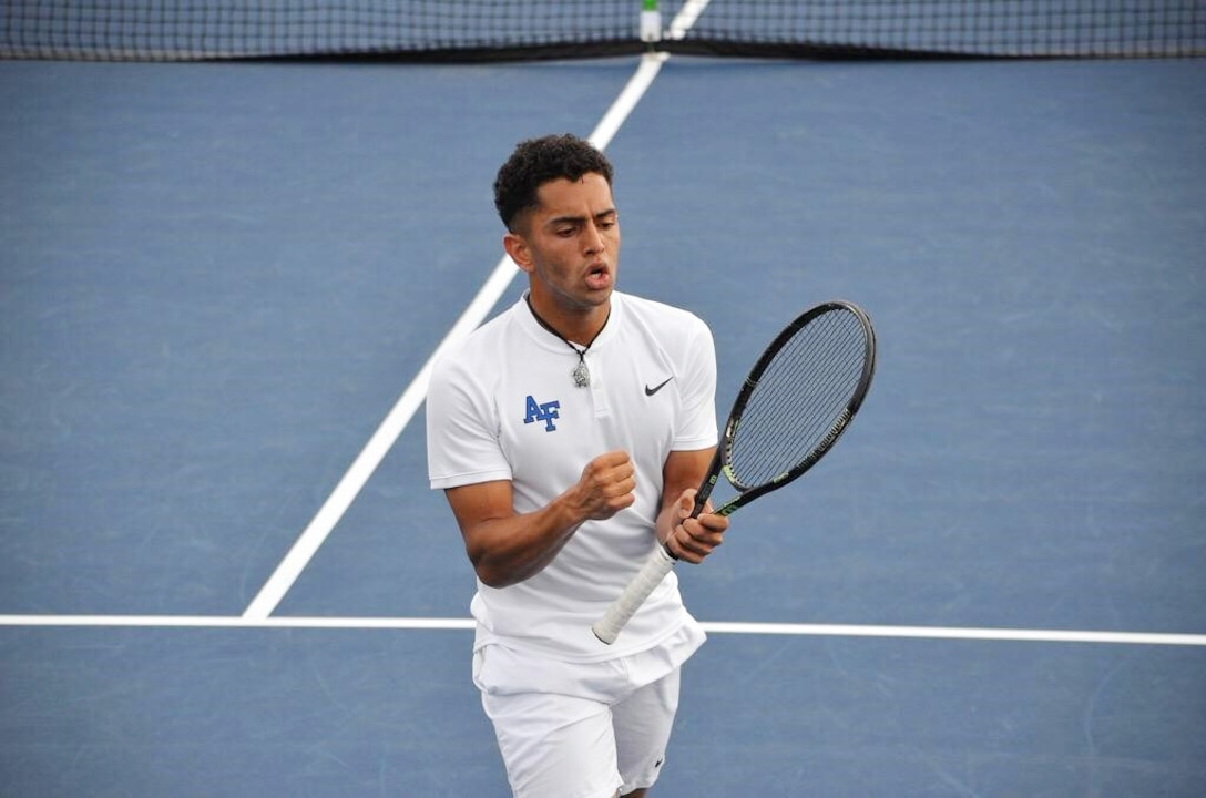 U.S. Air Force 2nd Lt. Isaac Perez celebrates the end of a match in this undated photo while a member of the United States Air Force Academy men's tennis team. Perez, who will begin pilot training in early 2020, has been named a 2019 recipient of the Intercollegiate Tennis Association's national Arthur Ashe Jr. Leadership and Sportsmanship award. (U.S. Air Force courtesy photo)