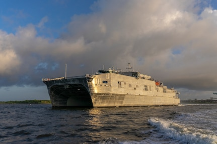 USNS Puerto Rico (EPF 11) successfully completed the first integrated sea trials for an Expeditionary Fast Transport ship Aug. 22.