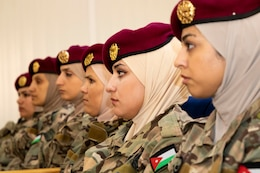 Jordan Armed Forces-Arab Army Quick Reaction Force Female Engagement Team (FET) members listen closely during the closing ceremony of the subject matter exchange with the 11th Marine Expeditionary Unit (FET) August 7, 2019 in Jordan. The U.S. is committed to the security of Jordan and to partnering closely with JAF to meet common security challenges.