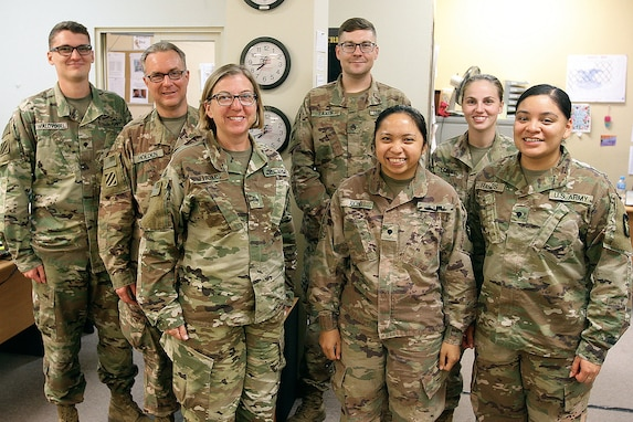 Soldiers of the 247th Finance Management Support Detachment gather at Camp Arifjan, Kuwait, Aug. 19, 2019.