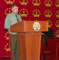 General-Major Khushbakht Miravar, first deputy chief of the general staff of the armed forces of the Republic of Tajikistan, speaks to coalition partners on the first day of Exercise Regional Cooperation 2019 at Dushanbe, Tajikistan, August 5, 2019. Exercise Regional Cooperation is an annual exercise to help strengthen military-to-military relationships between the United States and partners in Central and South Asia. The exercise enhances regional security and stability among the participating nations.