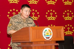 Major Nergui Nyambayar, member of the Mongolian Delegation, Armed Forces of Mongolia, speaks to coalition partners on the first day of Exercise Regional Cooperation 2019 at Dushanbe, Tajikistan, August 5, 2019. Exercise Regional Cooperation is an annual exercise to help strengthen military-to-military relationships between the United States and partners in Central and South Asia. The exercise enhances regional security and stability among the participating nations.