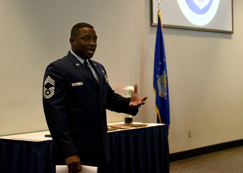 Chief Master Sgt. Brian Lewis, 47th Operations Group superintendent at Laughlin Air Force Base, speaks to the 19-F Airman Leadership School graduates during their ceremony at the event center on Goodfellow Air Force Base, Texas, August 22, 2019. Lewis spoke about how important it is for the graduates to have someone to look up to and to strive to be that person for others. (U.S. Air Force photo by Airman 1st Class Robyn Hunsinger/Released)