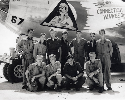 Pictured is a crew of the B-29 Stratofortress Connecticut Yankee II assigned to the 6th Bombardment Group during WWII.