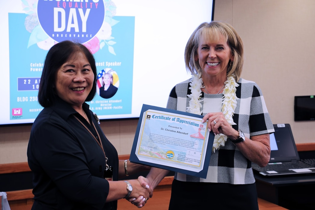 Honolulu District Special Emphasis Program Women's Equality Event was honored to have Dr. Christine Altendorf Director of Pacific Region, U.S. Army Installation Management Command as a special guest speaker.