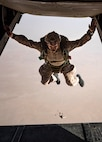 U.S. Marine Gunnery Sgt. Malachi Even, the platoon sergeant for Maritime Raid Force's 1st platoon with the 22nd Marine Expeditionary Unit, jumps out of an MV-22 Osprey as part of freefall jump training during Marine Expeditionary Unit Exercise, April 19, 2019.