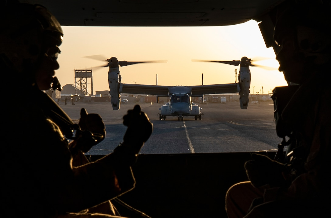 CAMP BEUHRING, Kuwait (April 23, 2019) – A U.S. Marine MV-22 Osprey with the 22nd Marine Expeditionary Unit taxis down the flight line prior to taking off and beginning a tail gun shoot during Marine Expeditionary Unit Exercise. The training allowed Marines with Marine Medium Tiltrotor Squadron 264 (Reinforced) to familiarize themselves with operating the weapon during flight and maintain combat readiness. Marines and Sailors with the 22nd MEU and Kearsarge Amphibious Ready Group are currently deployed to the U.S. 5th Fleet area of operations in support of naval operations to ensure maritime stability and security in the Central region, connecting the Mediterranean and the Pacific through the western Indian Ocean and three strategic choke points. (U.S. Marine Corps photo by Sgt. Aaron Henson/Released)