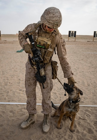 U.S. Marine Cpl. Colin Watson, a military working dog handler with the 22nd Marine Expeditionary Unit, works on tactical obedience with his canine Robby as part of a range during Marine Expeditionary Unit Exercise, April 16, 2019.