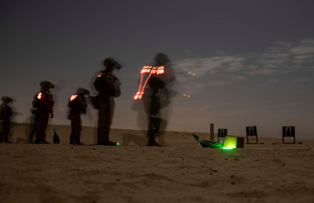 CAMP BEUHRING, Kuwait (April 16, 2019) – U.S. Marines with the 22nd Marine Expeditionary Unit engage targets as part of a range during Marine Expeditionary Unit Exercise. Marines and Sailors from the 22nd MEU's Command Element and Combat Logistics Battalion 22 qualified for Combat Marksmanship Program tables 3 and 4 in order to maintain combat readiness. Marines and Sailors with the 22nd MEU and Kearsarge Amphibious Ready Group are currently deployed to the U.S. 5th Fleet area of operations in support of naval operations to ensure maritime stability and security in the Central region, connecting the Mediterranean and the Pacific through the western Indian Ocean and three strategic choke points. (U.S. Marine Corps photo by Sgt. Aaron Henson/Released)