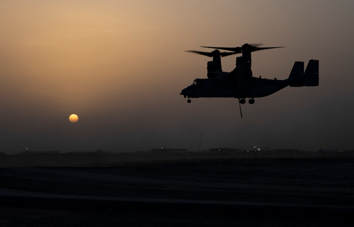 U.S. Marine MV-22 Osprey with the 22nd Marine Expeditionary Unit prepares to land after finishing helicopter support team training during Marine Expeditionary Unit Exercise at Camp Beuhring, Kuwait, April 11, 2019.