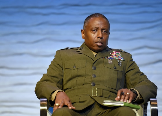 U.S. Marine Corps Brig. Gen. Dimitri Henry, U.S. Central Command director of intelligence, discusses breaking down organizational stovepipes