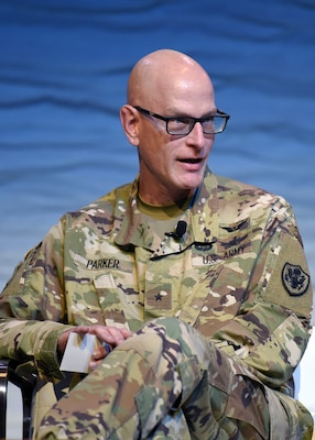 Brig. Gen. Chad J. Parker, National Guard Bureau director of intelligence, discusses the importance of information sharing during an emergency response