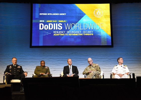 Directors of intelligence from five U.S. military organizations participate in a panel discussion on how artificial intelligence, modernization and information sharing impact military readiness