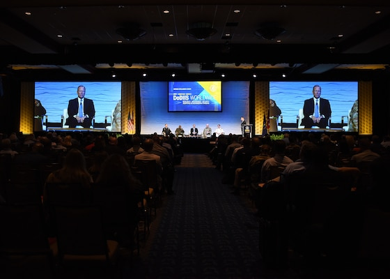 Directors of intelligence from five U.S. military organizations participate in a panel discussion on how artificial intelligence, modernization and information sharing impact military readiness during the Defense Intelligence Agency DoDIIS Worldwide Conference, Aug. 21, 2019, at the Tampa Convention Center, in Florida.