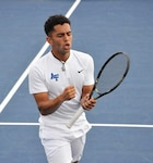 U.S. Air Force 2nd Lt. Isaac Perez celebrates the end of a match in this undated photo while a member of the United States Air Force Academy men's tennis team. Perez, who will begin pilot training in early 2020, has been named a 2019 recipient of the Intercollegiate Tennis Association's national Arthur Ashe Jr. Leadership and Sportsmanship award.