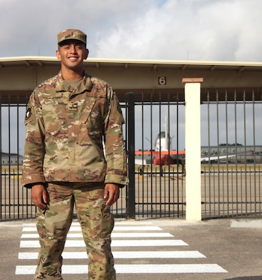 "U.S. Air Force 2nd Lt. Isaac Perez stands outside the flight line at Joint Base San Antonio-Randolph Aug. 20. Perez, who is awaiting the start of version three of ""Pilot Training Next,"" was the 2019 winner of the Intercollegiate Tennis Association's national Arthur Ashe Jr. Leadership and Sportsmanship award."