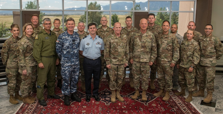 Gen. Stephen Wilson, Vice Chief of Staff of the U.S. Air Force, joins senior space military leaders from the U.S., Australia, Canada and Great Britain, as part of Space Flag's first exercise with coalition partners, Aug. 16, 2019. Space Flag is an Air Force Space Command-sponsored exercise focused on using current capabilities to deter, deny and disrupt adversarial actions in the space domain. Space Flag is one of many AFSPC efforts to expand its cooperation with Allied partners in joint, coalition space education and training opportunities. (U.S. Air Force photo by Dave Grim)