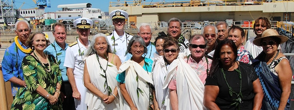 Pearl Harbor Naval Shipyard, Rep. Ed Case, Mayor Kirk Caldwell, Rear Adm. Robert Chadwick, Commander Naval Region Hawaii/Commander Naval Group Middle Pacific, shipyard commander, Capt. Greg Burton, and Ali`i Pauahi Hawaiian Civic Club celebrates the centennial anniversary of Dry Dock One on Aug. 21, 2019, at Dry Dock One.