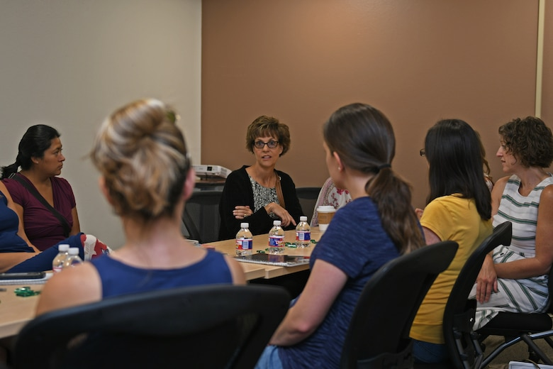 Rhonda Ray, wife of U.S. Air Force Gen. Tim Ray, Commander of Air Force Global Strike Command, speaks with military spouses at Dyess Air Force Base, Texas, Aug. 22, 2019. Rhonda spoke on the topic of homeschooling children as a military spouse, while taking questions on state curriculum requirements during permanent change of station moves. (U.S. Air Force photo by Senior Airman Susan Roberts)