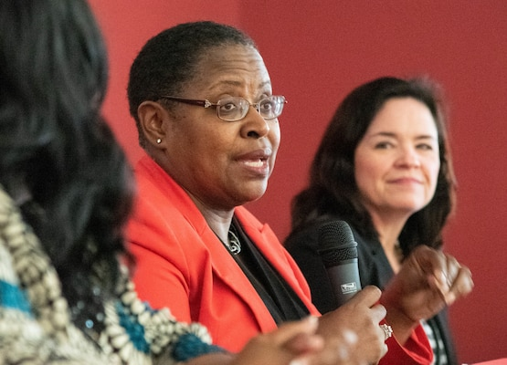Dr. Juanita M. Christensen, center, executive director of the U.S. Army Combat Capabilities Development Command Aviation and Missile Center, speaks during a Women's Equality Day discussion panel at the U.S. Army Engineering and Support Center, Huntsville, Aug. 22, 2019. At right is Karen Pane, director of Human Resources for the U.S. Army Corps of Engineers, and at left is Audrey Robinson, Esq., chief of counsel at NASA's Marshall Space Flight Center.
