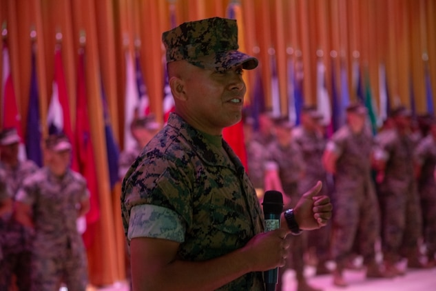 Newly appointed sergeant major of 4th Marine Regiment, Sgt. Maj. Jose H. Molina, gives remarks, during a relief and appointment ceremony at Camp Schwab, Okinawa, Japan, Aug. 16, 2019. During the ceremony, Leiva transferred leadership to Sgt. Maj. Jose H. Molina, who was selected as the new 4th Marine Regiment sergeant major. (U.S. Marine Corps photo by Lance Cpl. D'Angelo Yanez)