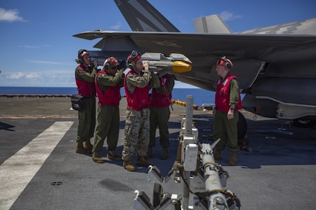 Ordnance Marines with Marine Medium Tiltrotor Squadron 265 (Reinforced), 31st Marine Expeditionary Unit, load an AIM- 9X Sidewinder missile onto an F-35B Lightning II fighter aircraft prior to a defensive combat air patrol rehearsal aboard the amphibious assault ship USS Wasp (LHD 1), Pacific Ocean, August 7, 2019. Wasp, flagship of the Wasp Amphibious Ready Group, with embarked 31st MEU, is operating in the Indo-Pacific region to enhance interoperability with partners and serve as ready-response force for any type of contingency, while simultaneously providing a flexible and lethal crisis response force ready to perform a wide range of military operations. (Official U.S Marine Corps photo by Cpl. Luis Velez)