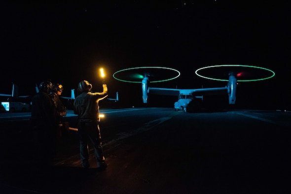 A CV-22 Osprey prepares to take off on the flight deck of the USS Ronald Reagan.