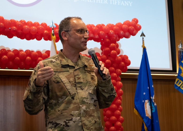 Col. George Vogel, 18th Wing Vice Commander, addresses the crowd as the Kadena Shoguns celebrate their newest staff sergeant selects during a celebration at Kadena Air Base, Japan, Aug. 23, 2019.