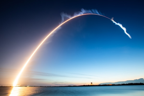 The trajectory of a rocket launch
