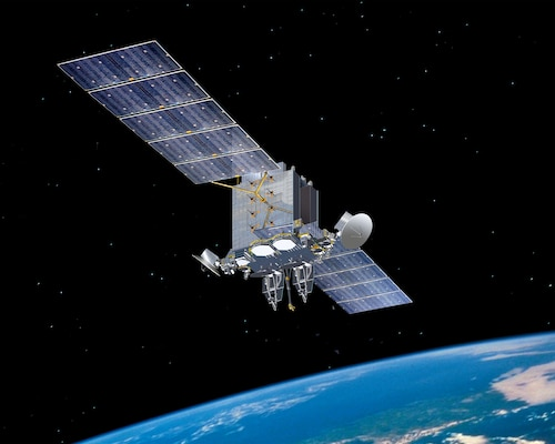 a graphic illustration of a satellite