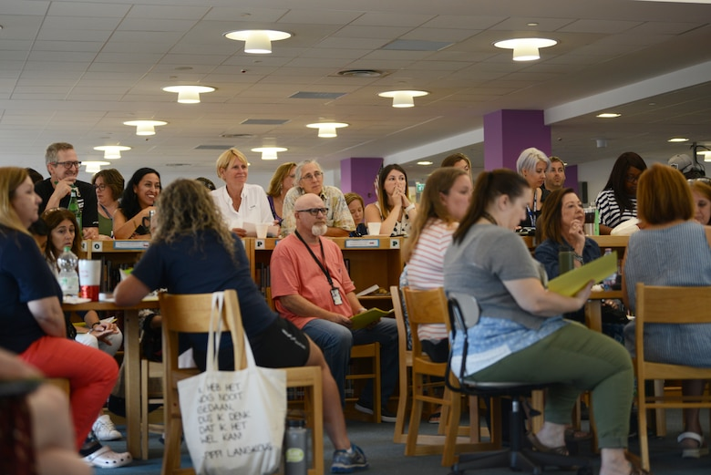 Aviano Elementary School teachers sit during a back to school meeting, Aug. 19, 2019, at Aviano Air Base, Italy. The entire leadership wants to ensure parents and students have all the resources they need to succeed. (U.S. Air Force photo by Airman 1st Class Ericka A. Woolever)