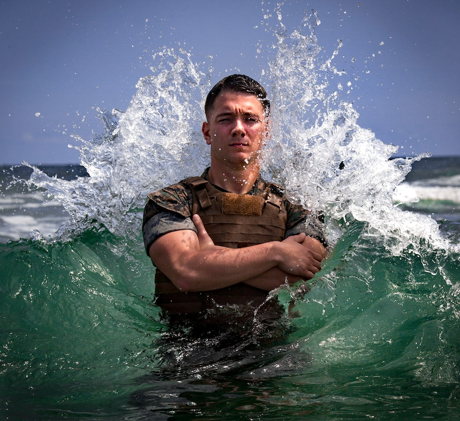 U.S. Marine Sgt. Cody Huestis, a Meteorology and Oceanology Marine with 2nd Intel Battalion, II MEF Information Group, poses for an environmental portrait as the unit's Motivator of the Week on Camp Lejeune, N.C. Aug 13, 2019. The Motivator of the Week title recognizes the Marine or Sailor whose leadership improves their unit in support of II MIG, II Marine Expeditionary Force.